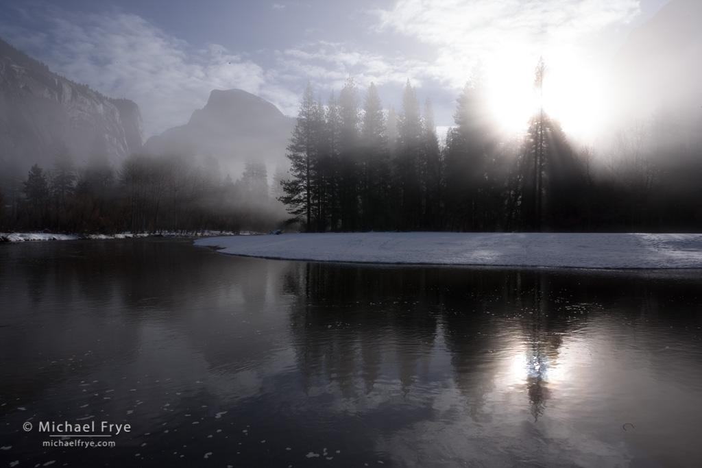 Half Dome, sunbeams, and the Merced River, Yosemite NP, CA, USA